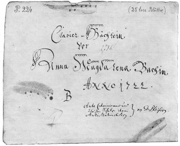 Обложка первого «Альбома Анны Магдалены Бах» 1722 года с посвятительной надписью Иоганна Себастьяна Баха