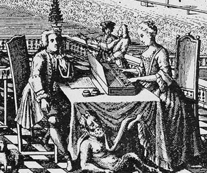 Фрагмент гравюры 1736 года «Вид на Лейпциг с севера». Предполагается, что за клавикордом изображена Анна Магдалена Бах, играющая для сидящего слева Иоганна Себастьяна Баха. Под столом аллегорически показан бог Пан, также слушающий музыку