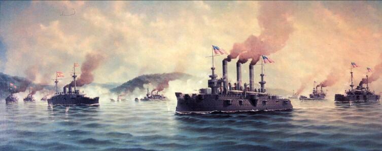 Линкор «Мэн» у берегов Кубы. Начало испано-американской войны. 18 февраля 1898 г.