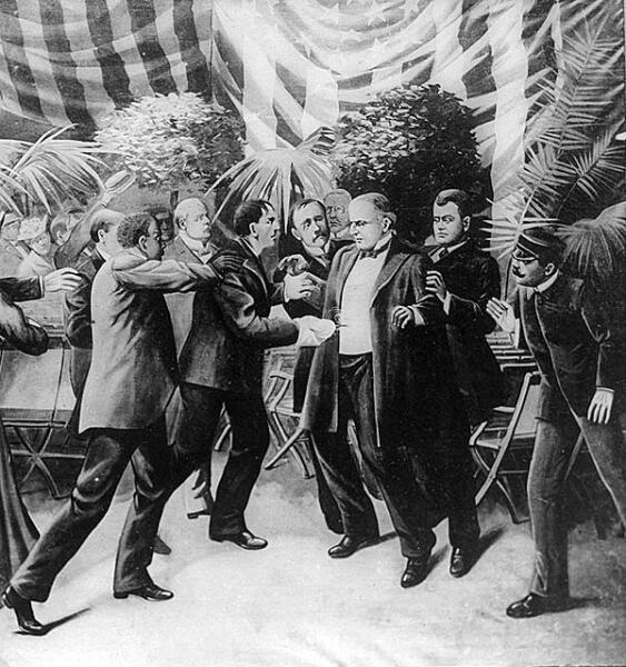 Чолгош убивает президента Мак-Кинли (художественная реконструкция)