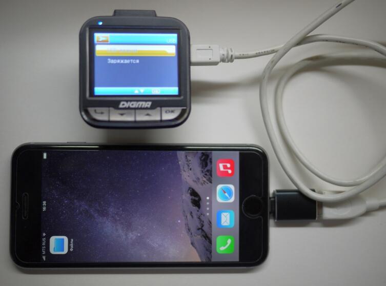 Подключение регистратора через адаптер к айфону