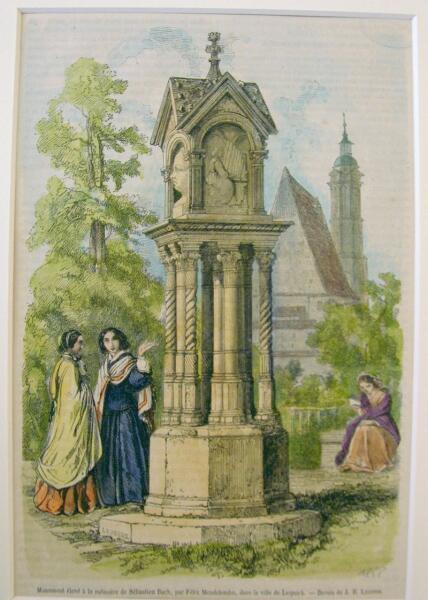 Мемориал Баху, воздвигнутый Феликсом Мендельсоном в Лейпциге в 1843 г.