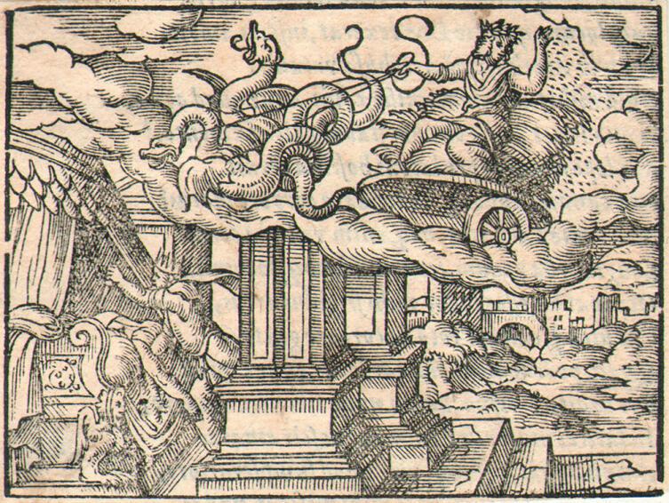 Виргилис Солис, «Триптолем и Линк», 1565 г., иллюстрация к «Метаморфозам» Овидия
