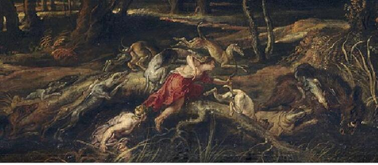 Питер Пауль Рубенс, Аталанта и Мелеагр охотятся на калидонского кабана, фрагмент «Аталанта стреляет из лука, собаки нападают на кабана»