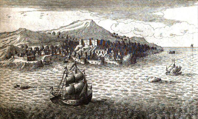 Вид на остров и крепость Тенедос. Гравюра XVIII века