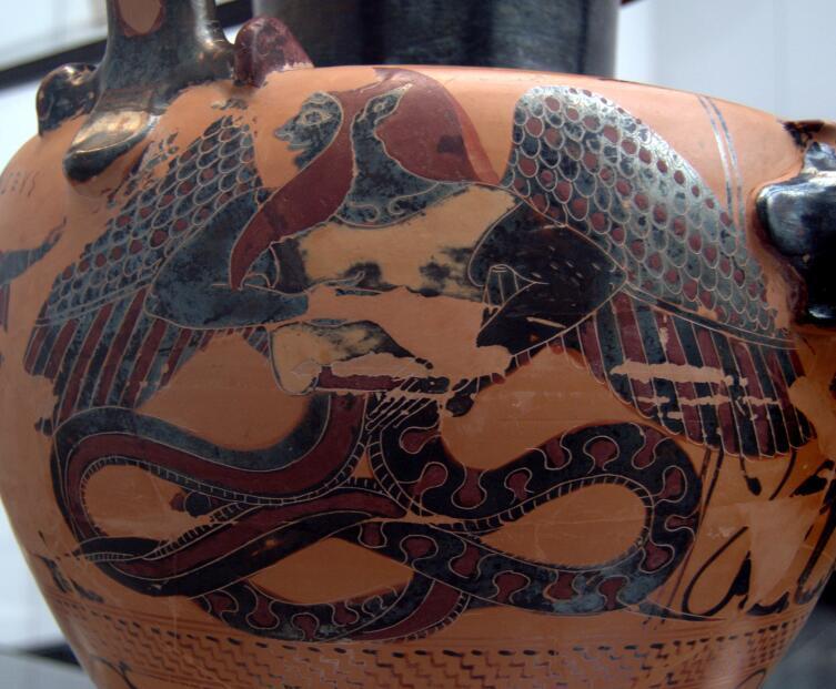 Гидрия из эвбейской Халкиды: Зевс поражает Тифона молниями, 540 год до н.э., Государственное античное собрание, Мюнхен, Германия