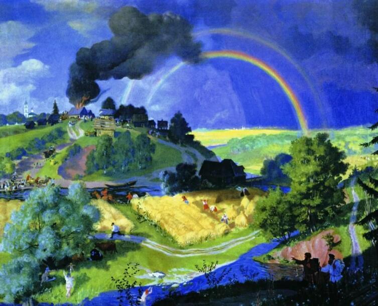Б. М. Кустодиев, «После грозы», 1921 г.
