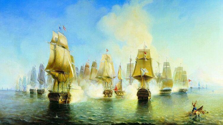 А. П. Боголюбов, «Афонское сражение 19 июня 1807 года», 1853 г.