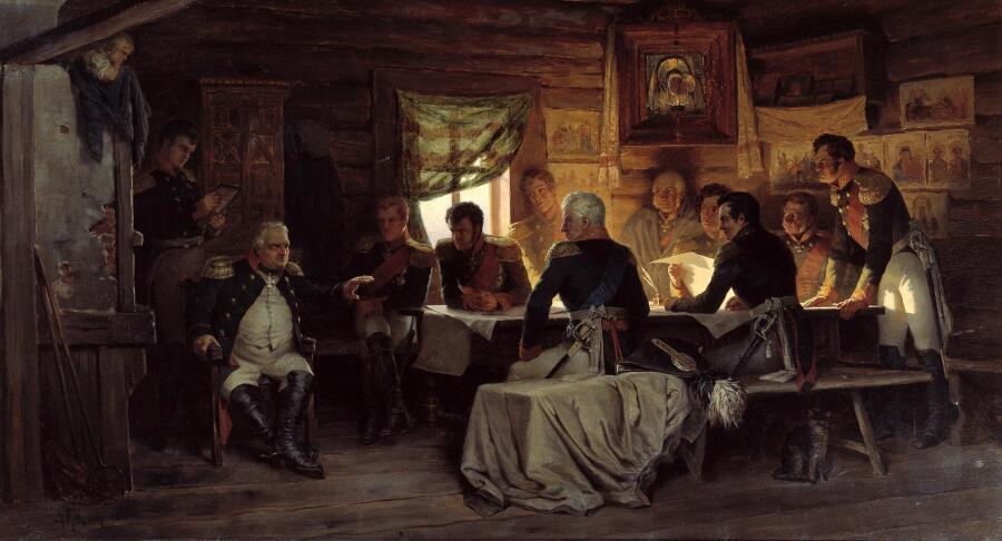Картина Алексея Кившенко (Барклай-де-Толли сидит под иконой), «Военный совет в Филях», 1880 г.