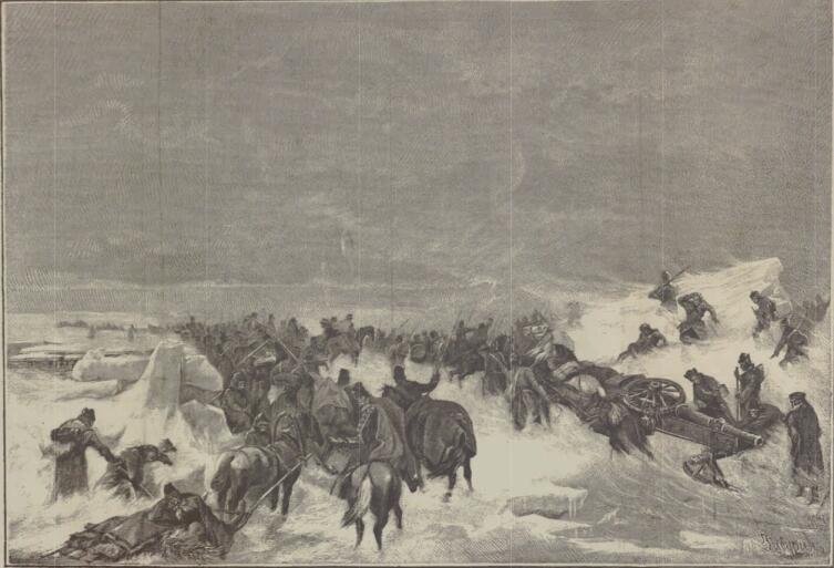 Переход через Кваркен (рисунок из «Военной энциклопедии» 1913 г.)