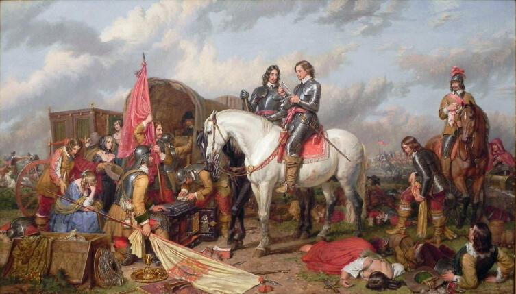 Чарльз Лендсир, «Кромвель читает письмо, найденное в обозе Карла I после сражения при Несби», 1851 г.