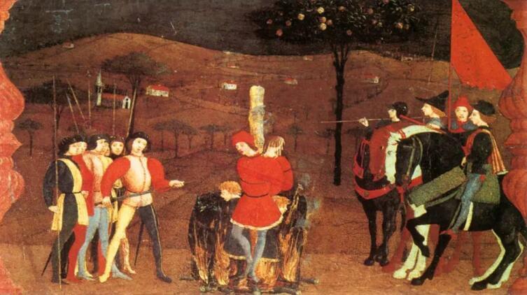 Паоло Уччелло, «Легенда о причастии. Еврейского купца с семьей сжигают на костре», 1460-е гг.