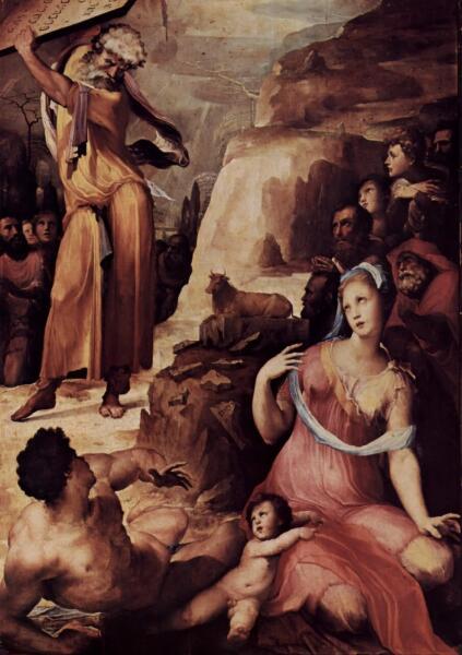 Доменико Беккафуми, «Моисей разбивает скрижали Завета», 1537 г.