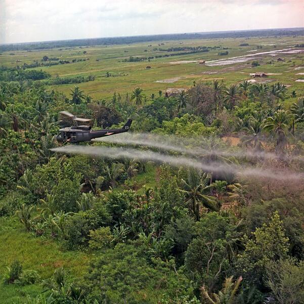 Вертолёт UH-1D 336-й авиационной роты распыляет дефолианты в дельте реки Меконг, 26 июля 1969 г.