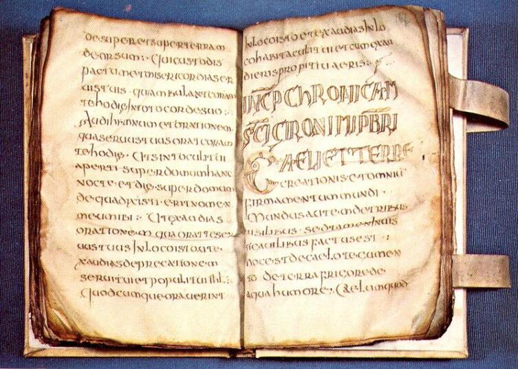 Рукопись на пергаменте эпохи Меровингов, VII век н. э.
