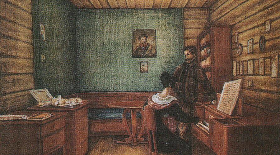 С. Г. Волконский с женой в камере в Петровской тюрьме. Рисунок Н. А. Бестужева, 1830 г.