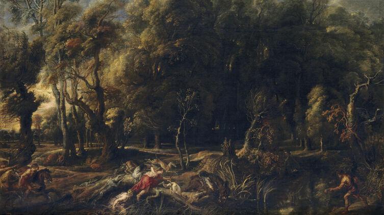 Питер Пауль Рубенс, «Аталанта и Мелеагр охотятся на калидонского кабана», 1636 г., 162×264 см, Прадо, Мадрид, Испания