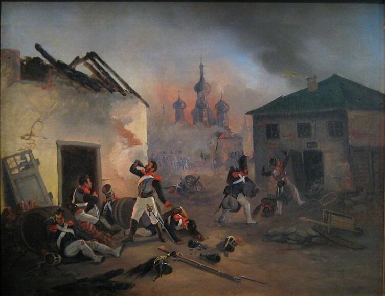 Пьющие французы, картина из музея «Бородинская панорама», XIX век