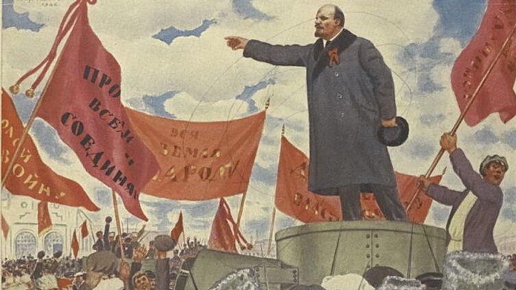 Б. Кустодиев, «Преддверие Октября (речь В. И. Ленина у Финляндского вокзала)», 1926 г.