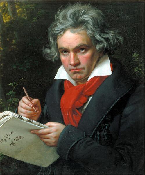 Портрет Бетховена с партитурой Missa Solemnis («Торжественная месса») кисти Карла Штилера, 1820 г.