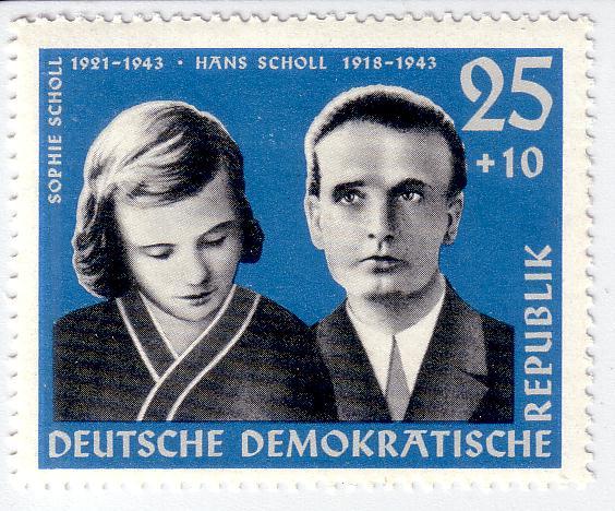 Марка ГДР памяти Софи и Ганса Шолль