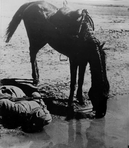 Боец Красной Армии (вероятно, старший сержант) и его лошадь утоляют жажду из водоема.