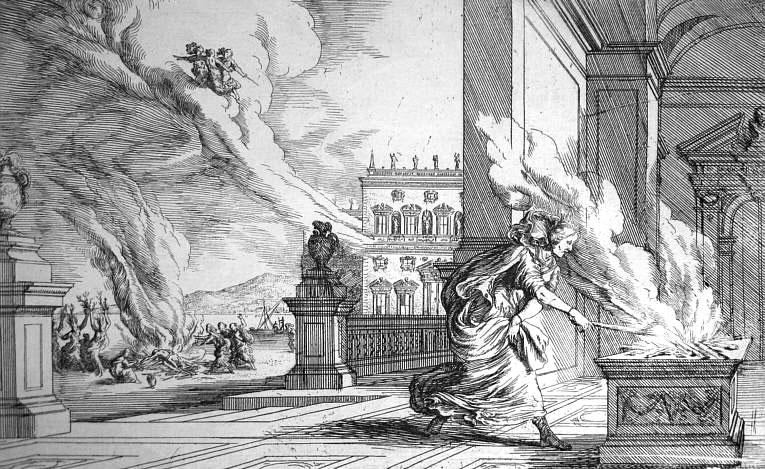 Ян Вильгельм Баур, «Алтея, мать Мелеагра, бросающая на костер полено, в котором сгорит его жизнь», 1659 г.