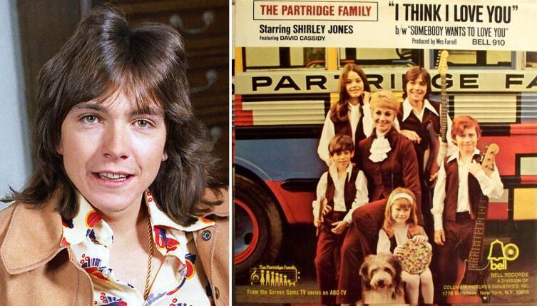 Слева— Дэвид Кэссиди в 1972 г., справа— обложка сингла «I Think I Love You»