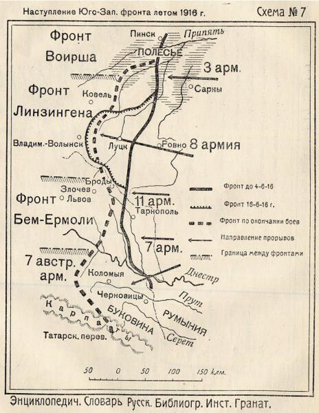 Карта Брусиловского прорыва