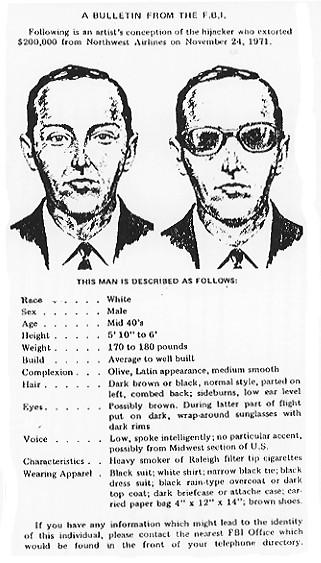 Плакат ФБР о розыске Д. Б. Купера