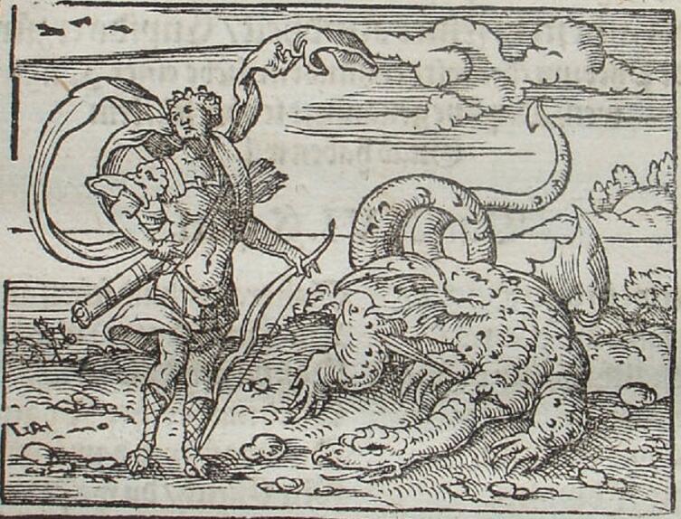 Виргиль Солис, Аполлон убивает Пифона, гравюра, иллюстрация к «Метаморфозам» Овидия