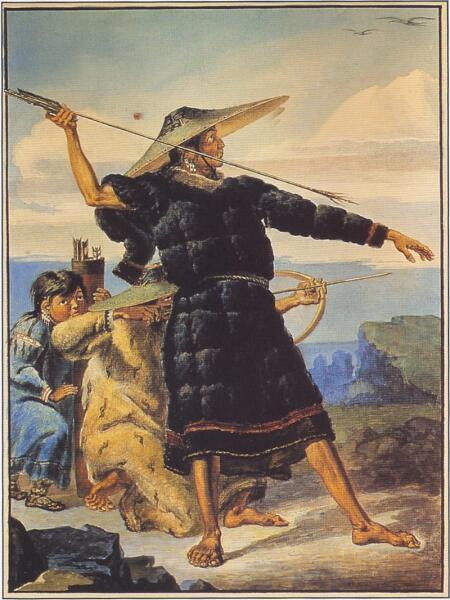 Жители Аляски на зарисовке М. Т. Тиханова, 1818 г.