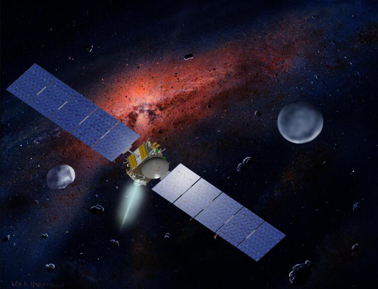 Полёт космического аппарата Dawn к астероидам (4) Веста (слева) и Церера (справа)
