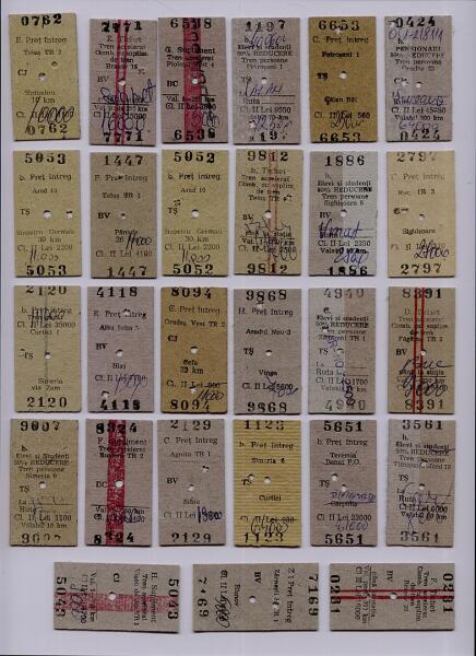 Коллекция железнодорожных билетов