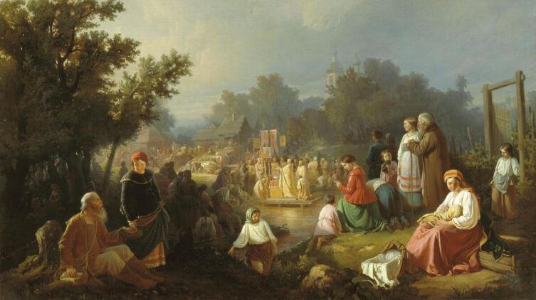 И. Трутнев. «Крестный ход на водоосвящение в деревне», 1858 г.
