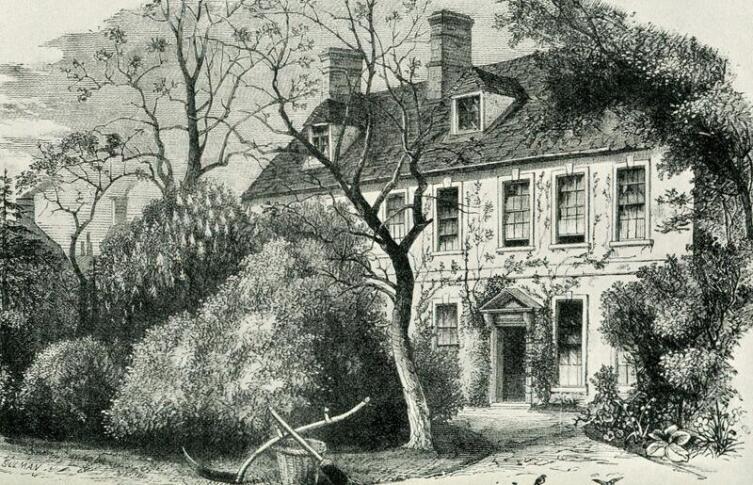 Дом, где был написан гимн, гравюра 1879 г.