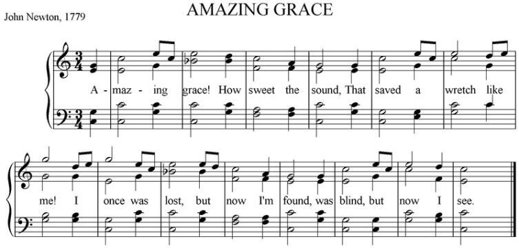 В нотах видна вся простота мелодии