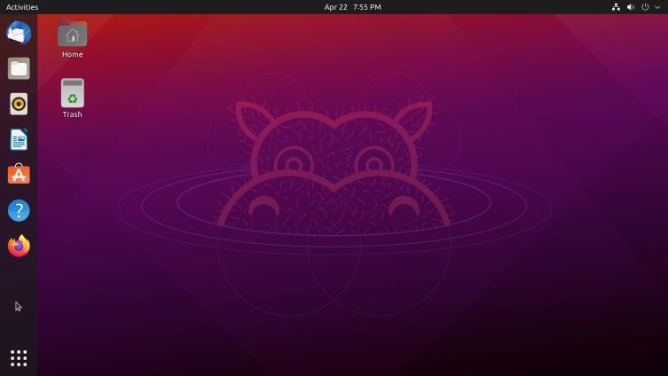 Экран с ОС Ubuntu 21.04.