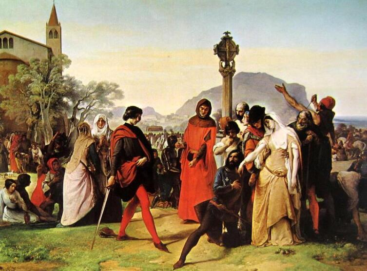 Франческо Хайес, «Сицилийская вечерня», 1846 г.