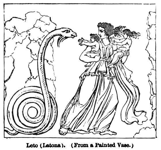 Пифон и Латона, прорисовка античной вазы
