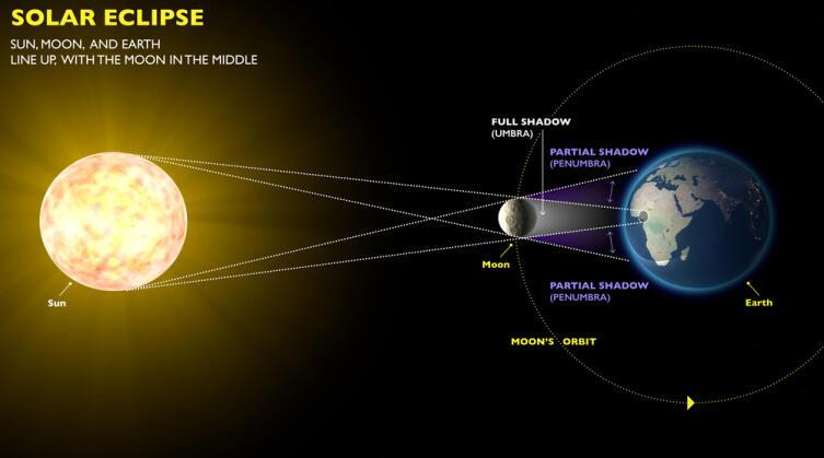 Схема расположения Земли, Луны и Солнца во время затмения