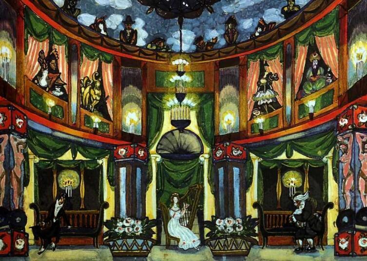 С. Ю. Судейкин, «У Олимпии» (эскиз декорации к «Сказкам Гофмана»), 1915 г.
