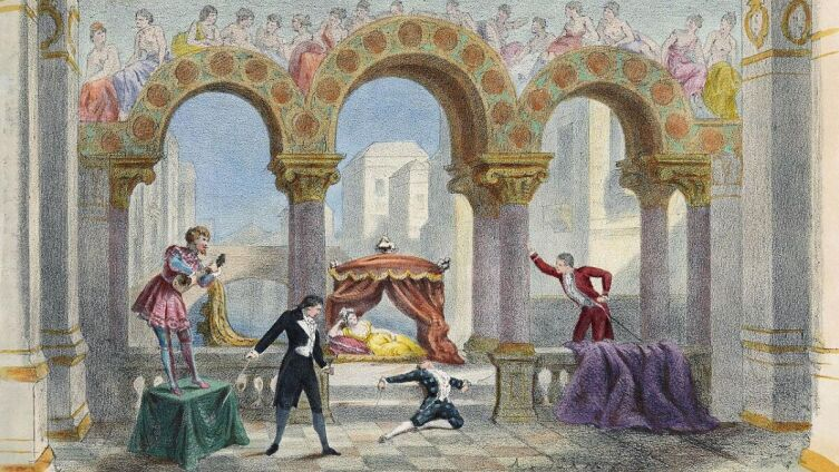 Пьер-Огюст Лами, «Акт III. Джульетта» (цветная литография к опере «Сказки Гофмана»), 1881 г.<br />