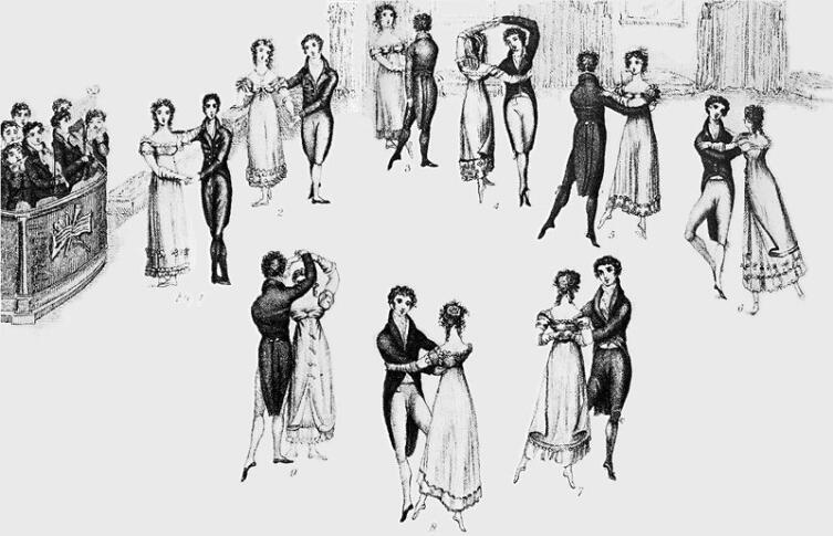 «Ранний» вальс— из обучающей книге по танцам 1816 г., гравюра