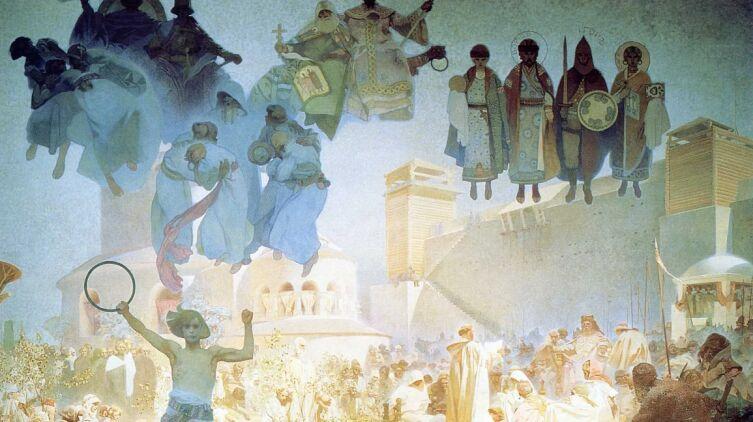 Альфонс Муха, «Ведение славянской литургии» из цикла «Славянская эпопея», 1912 г.