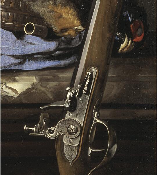 Виллем ван Алст, «Натюрморт с охотничьими принадлежностями» (фрагмент