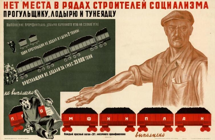 Г. Н. Пикалов, «Нет места в рядах строителей социализма прогульщику, лодырю и тунеядцу», 1933 г.