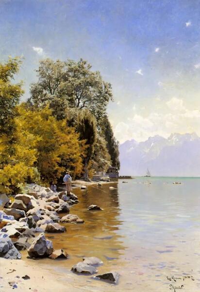 Петер Мёрк Мёнстед, «Рыбалка на Женевском озере», 1887 г.