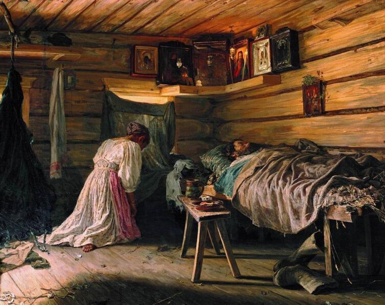 Молитва перед иконами в красном углу. В. М. Максимов, «Больной муж», 1881 г.