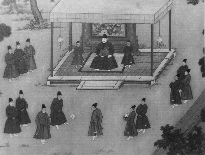 Император Юнлэ (правление 1402—1424) смотрит на дворцовых евнухов, играющих в цуцзюй